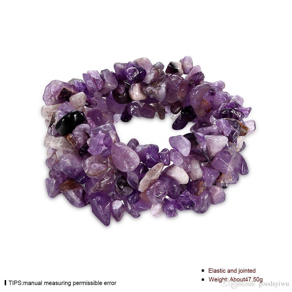 Mista 7 Cores Elásticas Pedra Natural Pulseira Multicamadas Fluorita Gemas turquesa ametista Pedra de Cristal Do Grânulo Pulseira para as mulheres NTRSH001-E