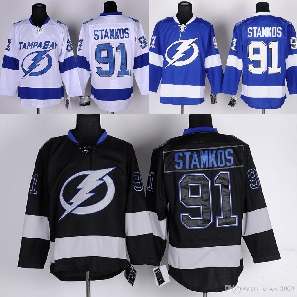 039e37dc3 2019 2016 Men Tampa Bay Lightning Ice Hockey Jersey  91 Steven Stamkos Blue  White Black C Patch Stitched Jerseys From Jersey 2009