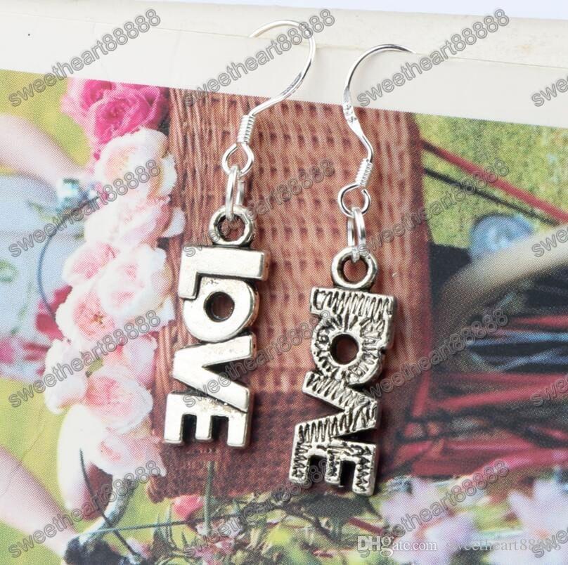 Carta de amor brincos de prata 925 orelha de peixe gancho 50 pares / lote de prata antigo lustre E921 7.8x38mm