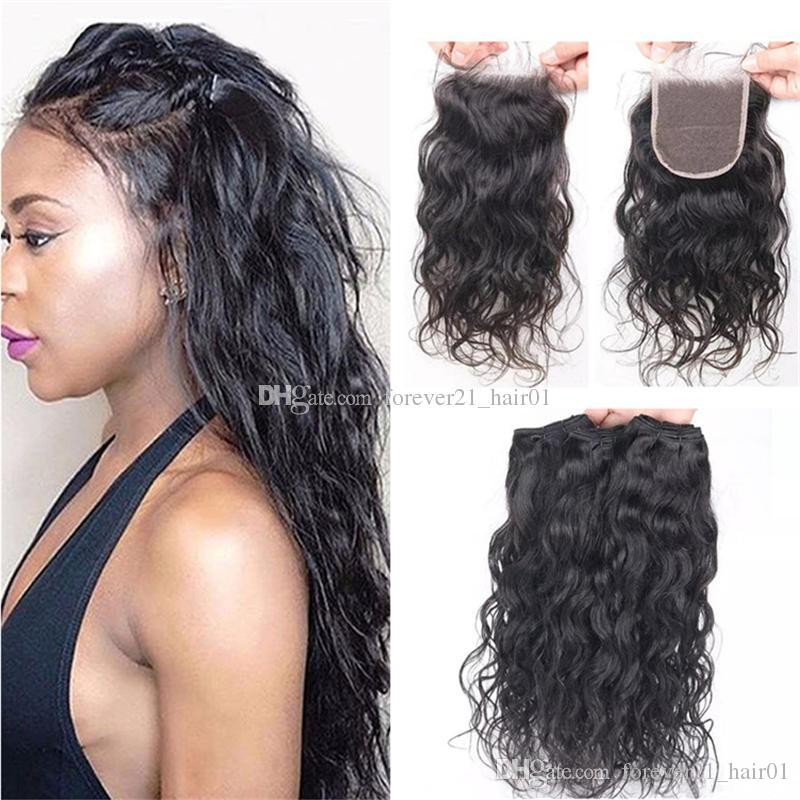 2018 Malaysian Virgin Hair Wet And Wavy Weaves With Lace Closure
