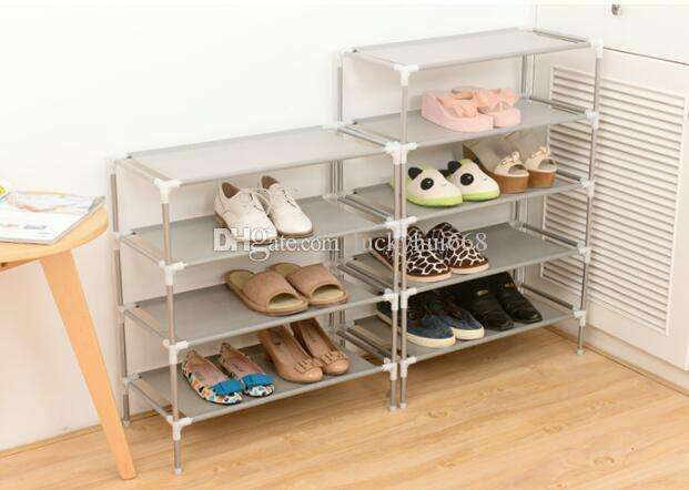 Free shipping Non-woven Shoe Display Shelf Galvanized Pipe Shoes Storage Cabinet Rack Organizer Assemble Shoe Cabinet DIY Shoe Stand
