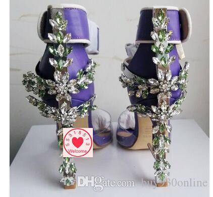 Women High Heels Sandals Shoes Luxury Brand Lock Rhinestone Crystal 2017 Night Out Women Pumps Wedding Party High Heel Shoes Size 40-45