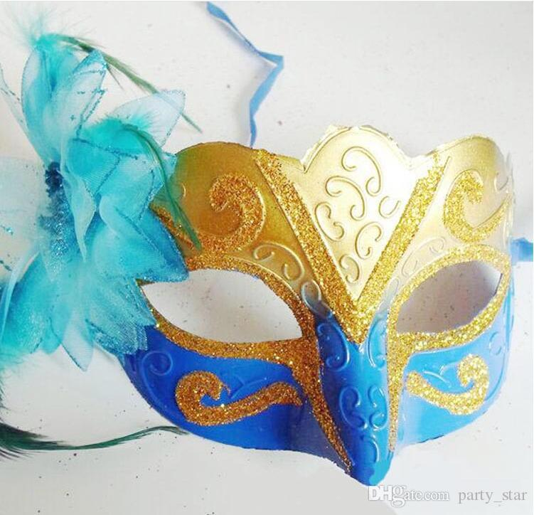 Las mujeres Fox Face Face Halloween Masquerade Máscaras Party Side Flower Performance Carnaval Máscara con polvo Superficie Bar Club Show Face Mask