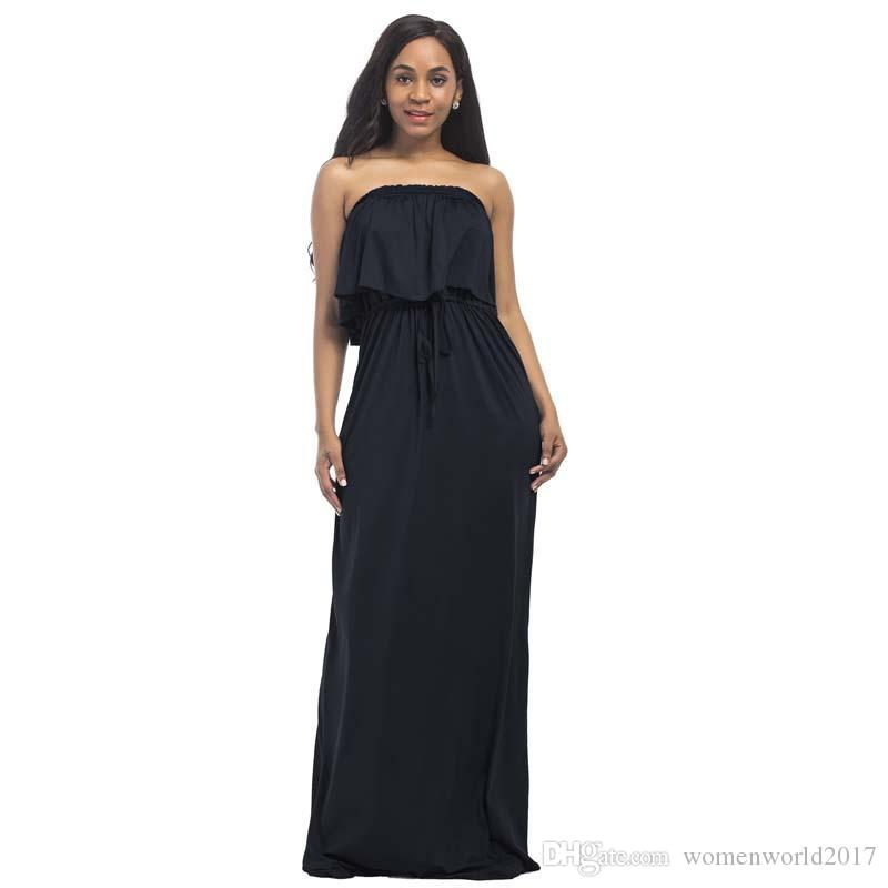 Artı Boyutu Bayan Moda Casual Straplez Gevşek Uzun Maxi Elbiseler Kokteyl Parti Elbise Clubwear Elbiseler Düz Renk