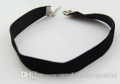 80's 90's Black Velvet Choker Necklace stylish Goth Gothic Handmade Retro Burlesque 1.0cm Chockers Necklaces Bronze/Silver Clasp Free DHL