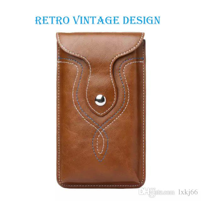 Universal Retro Leather Pouch Waist Bag Belt Clip Holster for iP 6 6s Plus & Sam Galaxy Note 3 4 5 & more