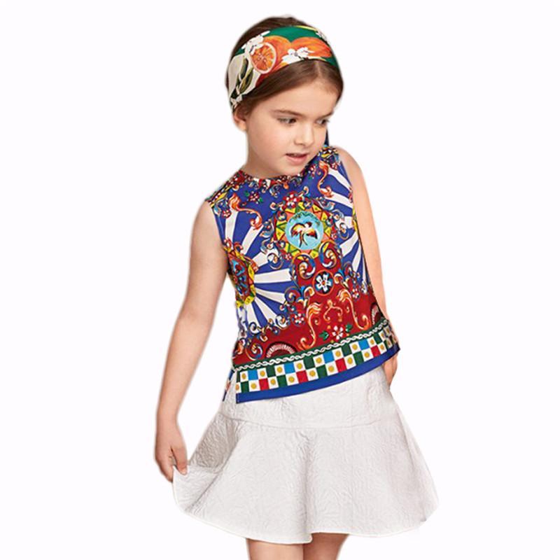 Petigirl New Designs Ethnic Style Girls Dress Set Fashion Printed Sleeveless Tops white dresses for girls kids Clothing CS90124-537F
