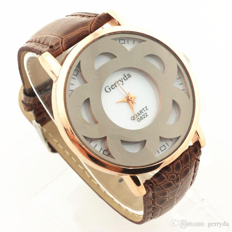 !PVC leather band,gold case,black flower imprint under glass,quartz movement,gerryda fashion woman lady quartz leather watch622