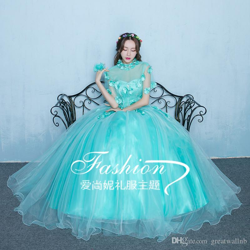 100%real Luxury Light Lake Blue Flower Embroidery Beading Princess Ball  Gown Medieval Dress victoria Belle Ball Medieval Dress Online with   192.0 Piece on ... 4e84475798ca