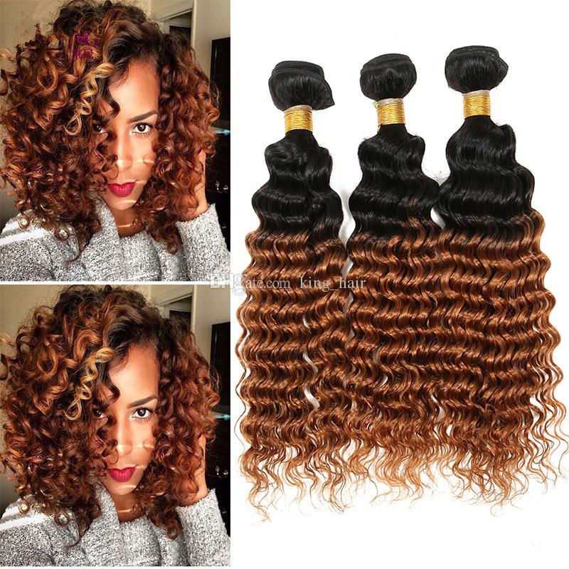New Arrival #1B/30 Human Hair Bundles Honey Blonde Two Tone Hair Weaves Deep Curly Hair Extensions For Beauty Girl