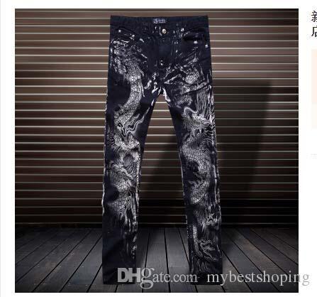 Nouvelle arrivée! La nouvelle personnalité de la mode des jeans estampés Metrosexual jeunes jeans droites pantalons slim Club