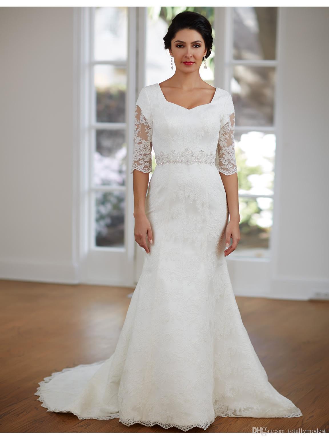 Simple Vintage Lace Mermaid Modest Wedding Dresses Half Sleeves ...