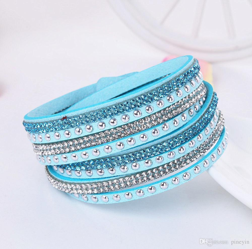 Color de la mezcla Venta completa de múltiples capas de cuero pulsera del abrigo Joyería Para Las Mujeres pulseras de cristal Deisgn simple tela de Terciopelo