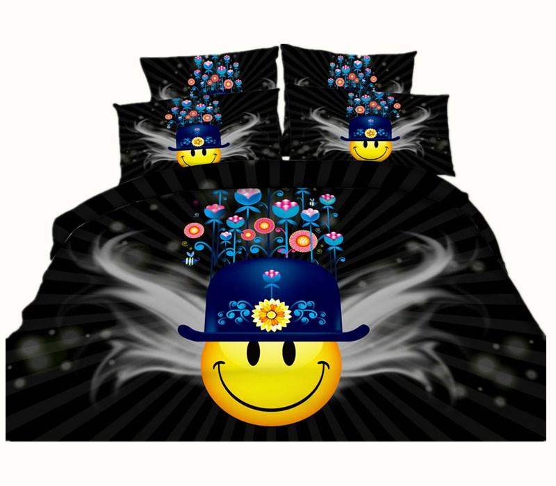 Cartoon Smiling Face 3D Printed Bedding Sets Twin Full Queen King Size Bedspreads Bedclothes Duvet Covers Flower Fashion Design 600TC 3/