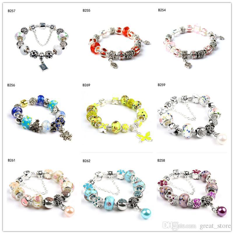 Fiocco di neve farfalla tibetano perline di vetro d'argento braccialetto di fascino, donne di modo di European Beads Fai da te braccialetto 6 parti GTPDB28 molto stile misto