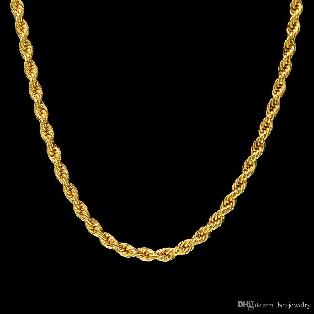 6.5 ملليمتر سميكة 80 سنتيمتر طويلة الصلبة حبل الملتوية سلسلة 14 كيلو الذهب والفضة مطلي الهيب هوب الملتوية قلادة الثقيلة 160gram للرجال
