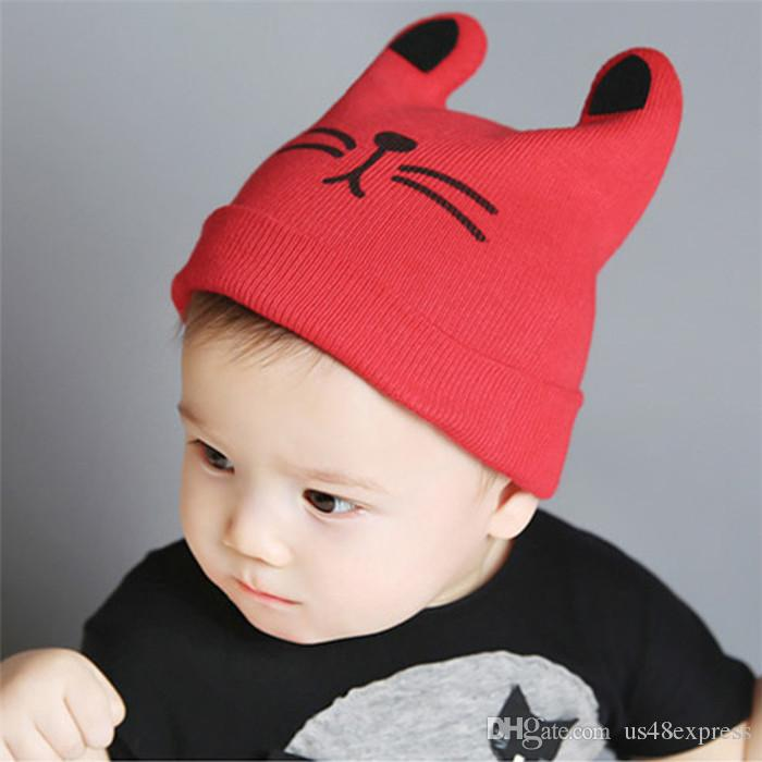 2017 Autumn Winter 0-12months Baby Cute Ear Hat Cotton Beanie Cap Toddler Infant Baby Girls and Boys Knitted Hats Kids Hats & Caps