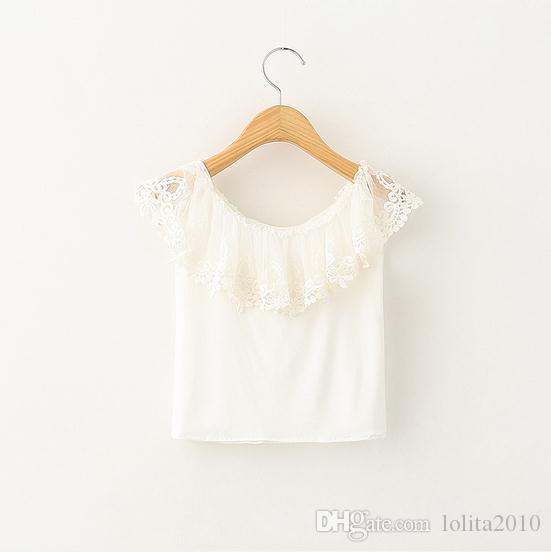 8387c4be16898 2016 White Tops Baby Girls Summer Ruffles Lace Sleeveless Cotton Tops  Crochet T Shirts Kids Summer Clothing Children Princess Girl Shirts Boys  White Shirts ...