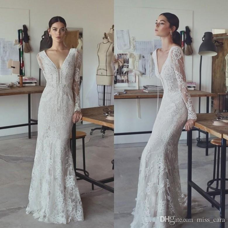 abe2ea19681 2017 Vintage Lihi Hod Wedding Dresses Sheath Full Lace V Neck Floor Length  Long Sleeves Bridal Gowns Plus Size Custom Modest Cheap Weddingdress  Western ...
