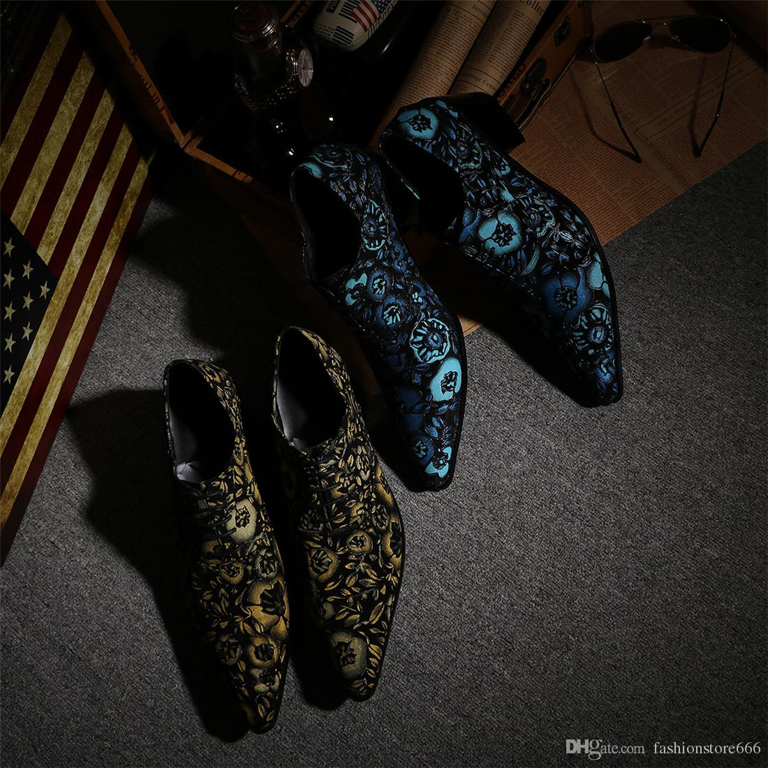 Leather men shoes United Kingdom style exclusive fashion sneakers lace wedding dance shoes men's hiking shoes blue yellow to bright red