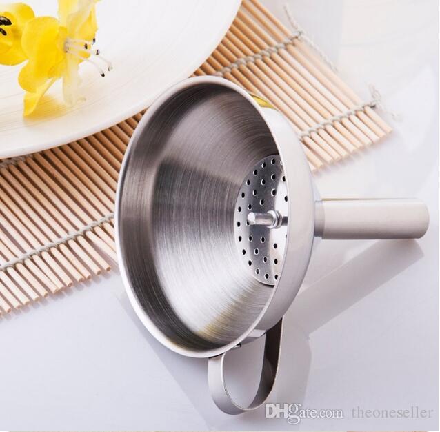 4 Inch 304 Aço Inoxidável Funil Com Filtro Destacável Ferramentas de Cozinha Funis SF EMS FEDEX Frete grátis MYY10520A