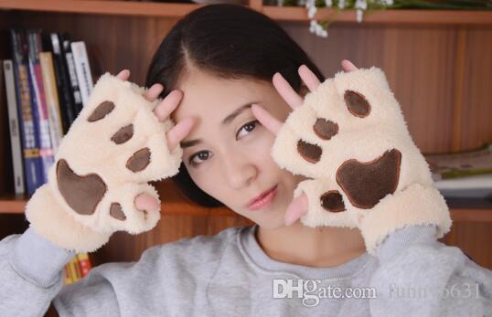 Halloween Weihnachten Bühne durchführen Requisite Cosplay Katze Bär Paw Claw Glove Party begünstigt Winter Cute Hochwertige Frau Cartoon Katze Handschuhe