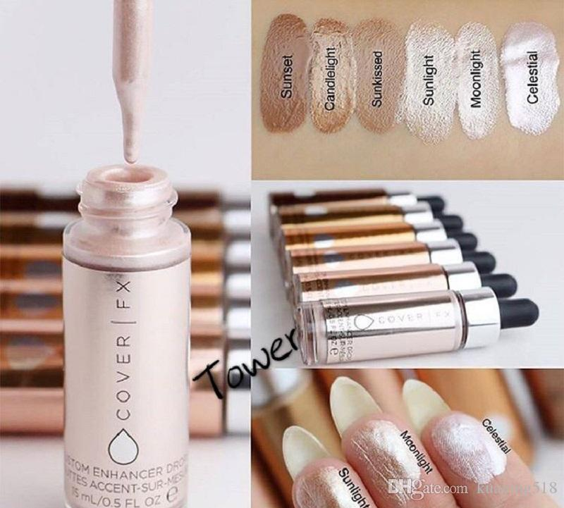 Hot Cover FX Custom Enhancer Tropfen Gesicht Textmarker Puder Makeup Glow 5 Farbe 30 ml flüssige Textmarker Kosmetik