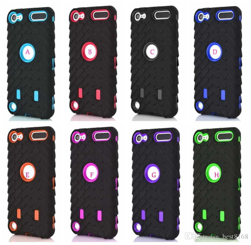 Tire tyre Vroom Hard PC Plastic+Soft Hybrid Layer Case For Ipod Touch 6 6G 6th 5 5th Ipod6 Ipod5 Car Silicone Rubber Shockproof Cover