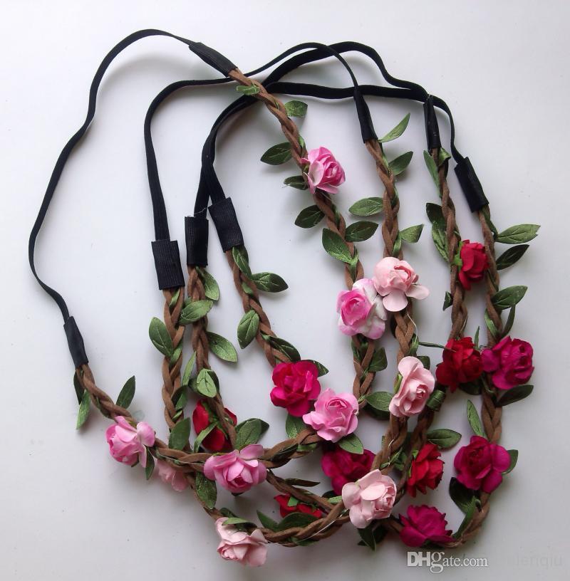 Fascia all'ingrosso della Boemia i fiori delle donne Intrecciato Headwrap elastico di cuoio la fascia dei capelli delle signore Colori assortiti Hairband degli ornamenti dei capelli
