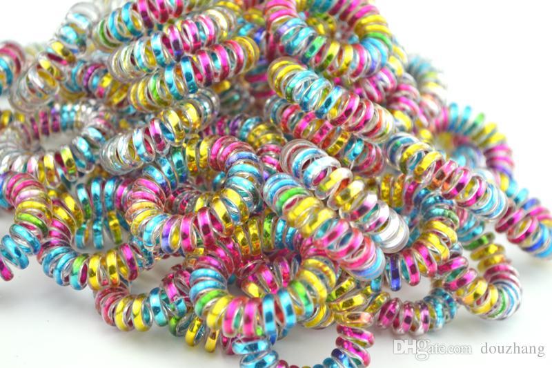 En gros Coloré Téléphone Fil Cordon Ligne Gomme Titulaire Élastique Bande De Cheveux Tie Scrunchy 3.5 cm Cheveux Accessoire