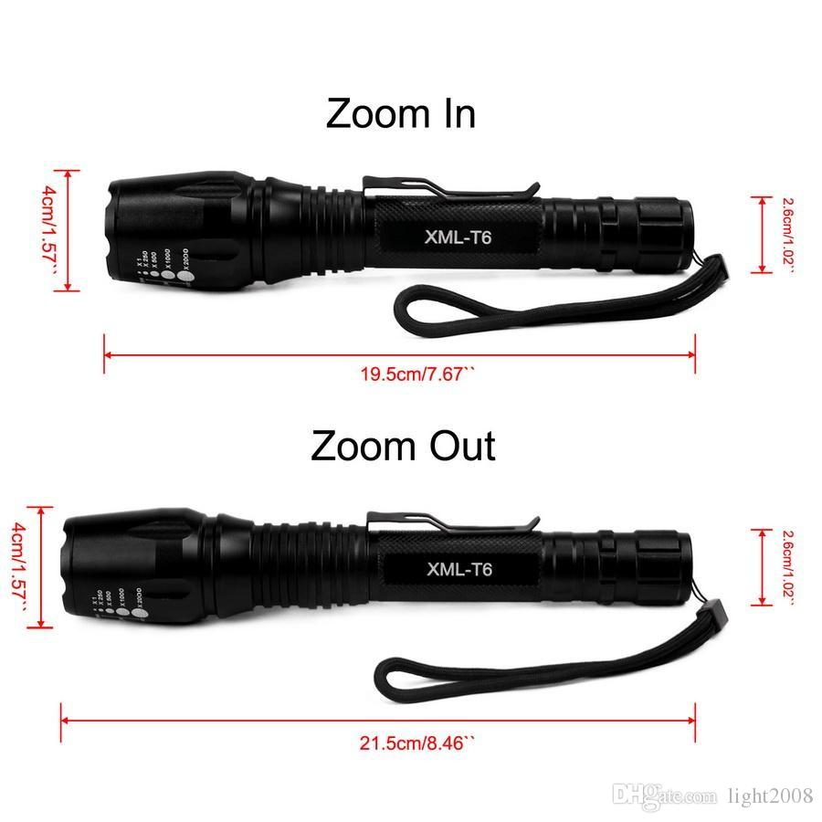 The Longer Torch E3 CREE T6 Tactical Flashlights 2500 Lumens L2 Torch Adjustable Focus Zoom Rechargeable Flash light