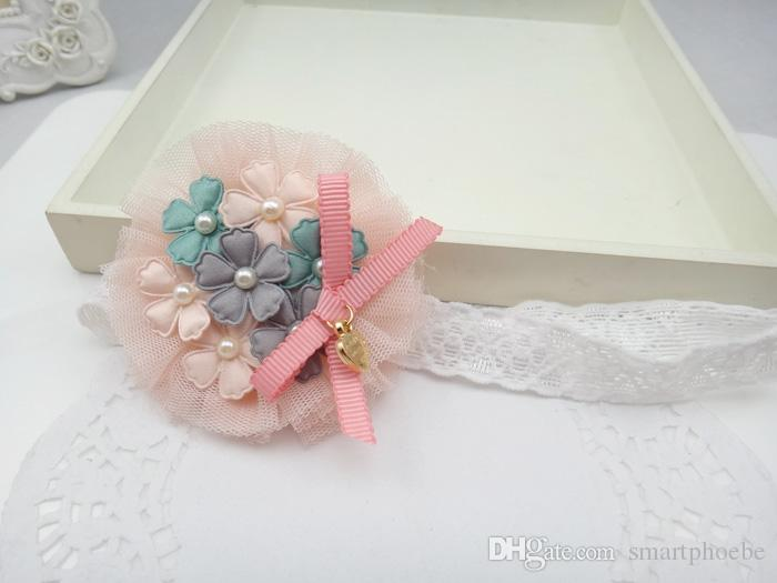 Wholesale Fashion Cute Floral Headbands Solid Flower Lace Soft Hairbands Princess Headware Hair Accessories