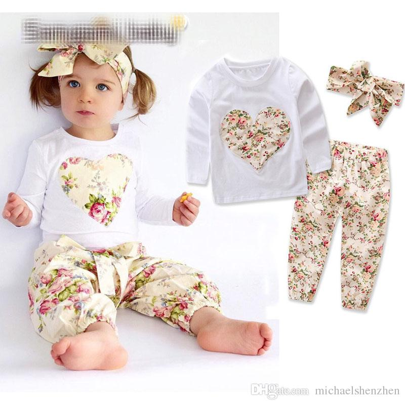 Baby girl INS heart-shaped flower Suits Kids Toddler Infant Casual Short long sleeve T-shirt +trousers+Hair band sets pajamas clothes B