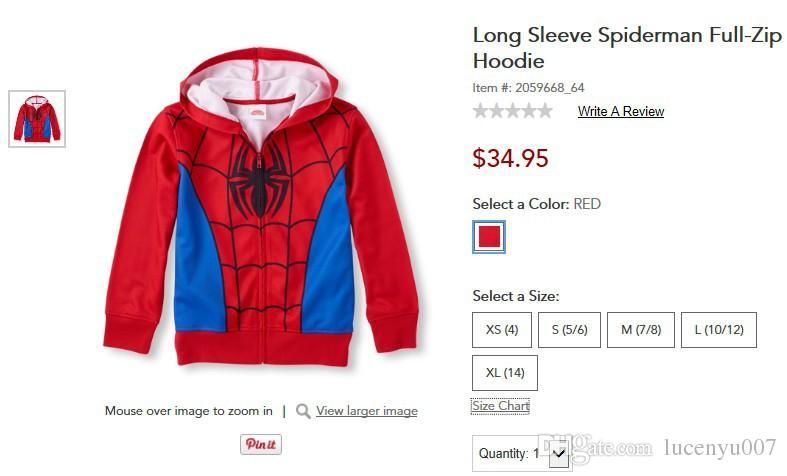 4-14Y Manches Longues Spiderman Full-Zip Hoodie Sweat Garçons Manteaux Enfant Garcon Garçon Manteau Veste D'hiver Moda Infantil Livraison Gratuite