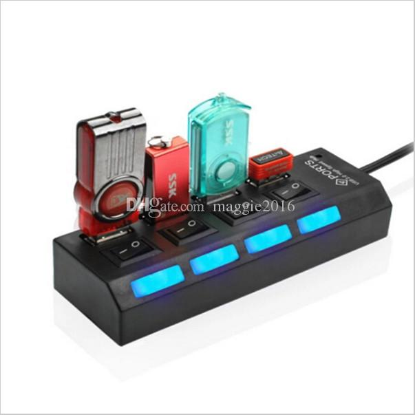 2016 neueste Mini High Speed USB 2.0 Hub 4 Ports Tragbare USB Hub 480 Mbps Ein / Aus-Schalter Hub USB Splitter Adapter Für PC Laptop
