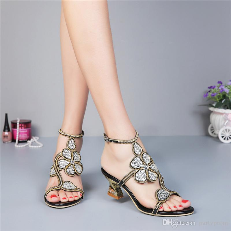 b6fd30eab6d Kitten Heel Gold Rhinestone Wedding Sandals Slingback Comfortable Party  Dancing Shoes Chunky Heel 2 Inches Summer Dress Shoes Wedding Shoes London  Wedding ...