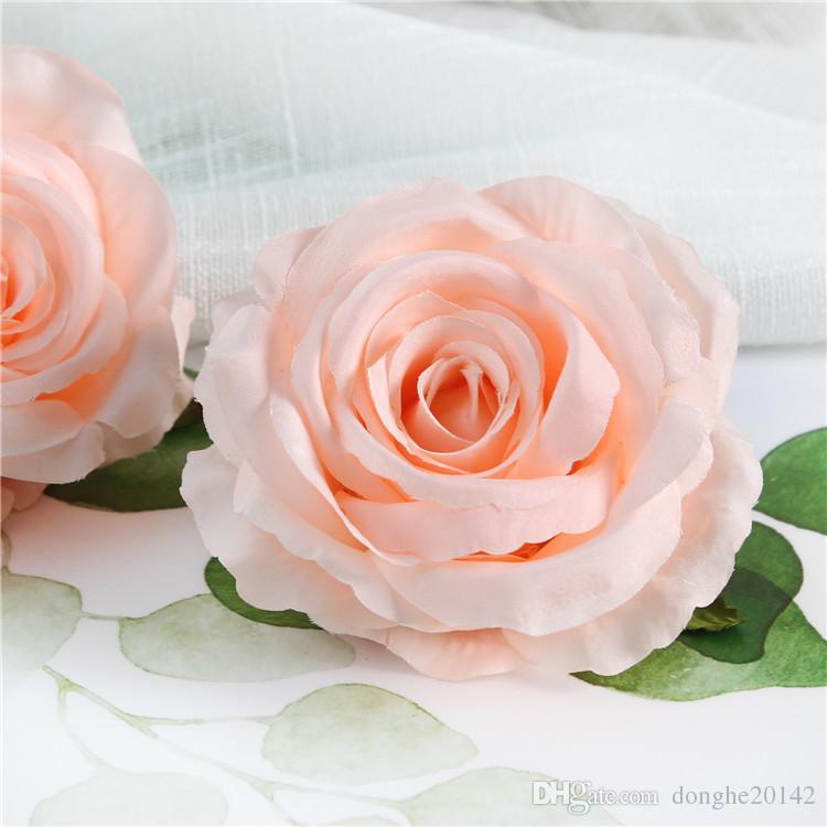 20 Unids 9 CM Rosa Artificial Jefes de Flores de Seda Decorativa Decoración Del Partido Flor de la Boda Flor de la Pared Ramo de Rosas Artificiales Blancas Rosas