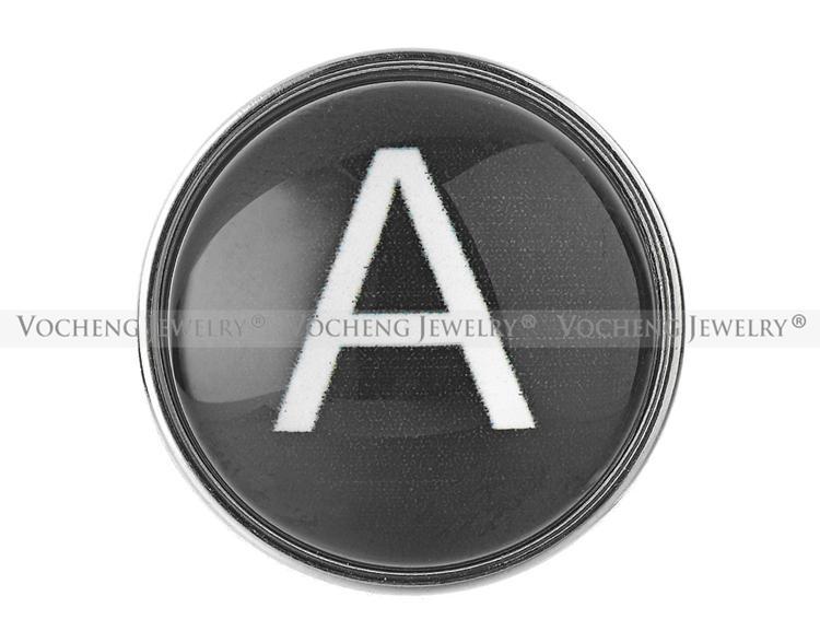 VOCHENG Нуса черный имбирь Оснастки ювелирные изделия 26 английские буквы 18 мм медь металл стекло кнопка Vn-1619