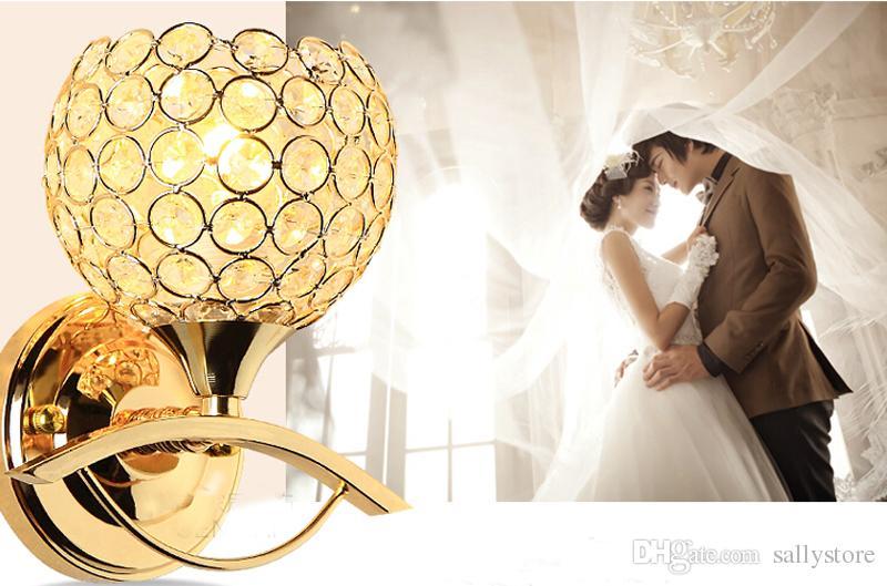 Estilo de cabecera Lámpara de pared moderna de la escalera Dormitorio lámparas de cristal Luz a la pared E27 bombilla LED de plata / Lámpara Led oro para la decoración del dormitorio