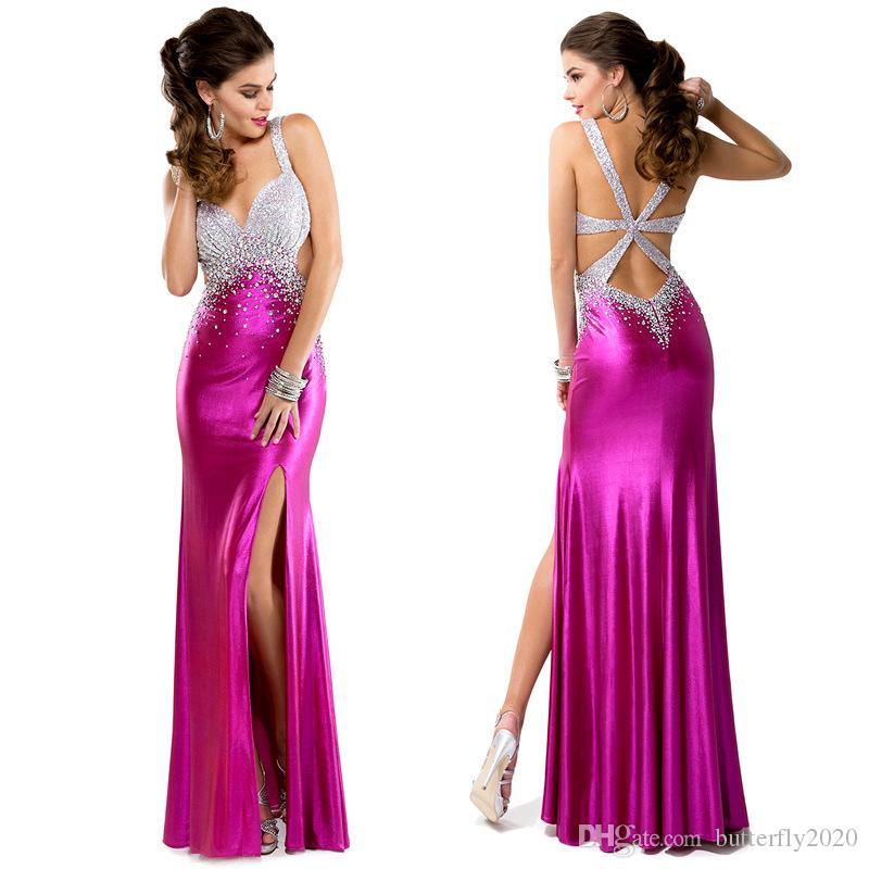 Compre Vestidos De Noche De Sirena Púrpura Cebolla Tafetán ...