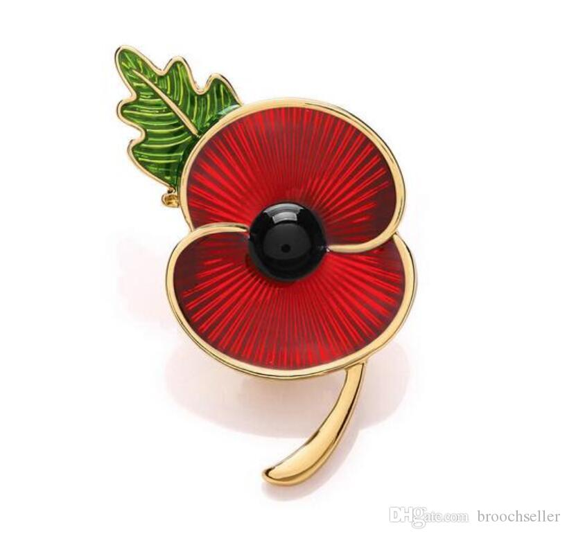 2018 18 inch gold tone red enamel poppy flower brooch with green 2018 18 inch gold tone red enamel poppy flower brooch with green leaf uk remembrance day souvenir gifts from broochseller 076 dhgate mightylinksfo