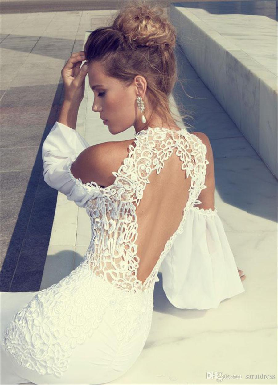 Ordine chiffon maniche lunghe nuziale della sirena Hollow Indietro Wedding Gowns Primavera Julie Vino girocollo pizzo abito da sposa treno Sweep
