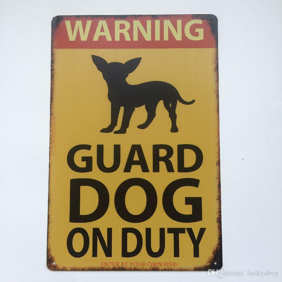 Предупреждение сторожевая собака на дежурстве старинные знак Главная бар паб отель ресторан кафе главная декоративные ретро металлический плакат олова знак