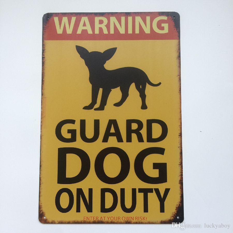 Advertencia Guardia Perro de guardia Signo de la vendimia Home Bar Pub Hotel Restaurante Cafetería hogar Decorativo Retro Metal Cartel Cartel de chapa
