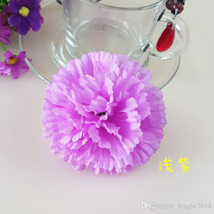 9CM Artificial Carnation Decorative Silk Flower Head For DIY Mother's Day Flower Bouquet Home Decoration Festival Supplies Party Deco