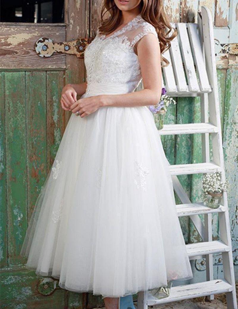 1950 vintage lunghezza del tè abito da sposa manica del collo scollo av in rilievo pizzo tulle corto una linea nuovo design abiti da sposa su misura