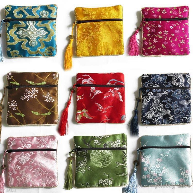 Wholesale Cheap Chinese Vintage Silk Jewellery Pouch Gift Bag /