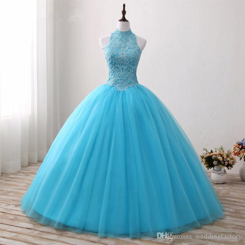 2017 Aqua Blue Ball Gown Quinceanera Dresses High Neck Sleeveless ...