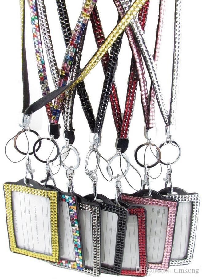 Pendant Necklaces Each color Rhinestone lanyard crystal ego ID bangle job card long lanyard many colors for choose