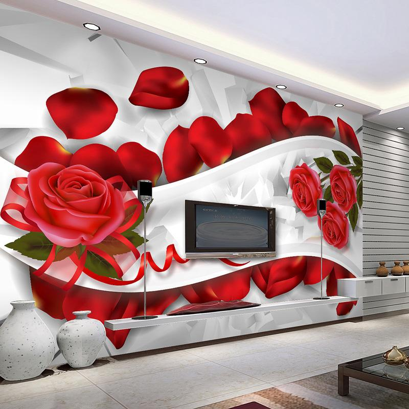 Romantic 3d Wallpaper Wall Mural Red Rose Photo Wallpaper Bedroom Wedding  Decoration Shop Living Room Decor Tv Backdrop Custom 3d Wallpaper Wallpapers  ...